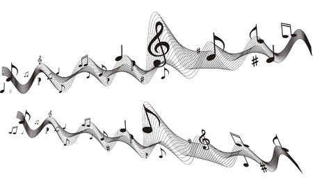 music sheet: Music sheet (vector) wave