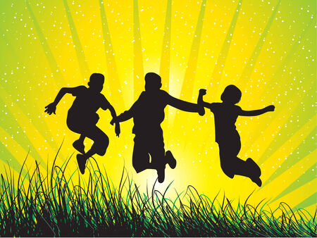 hilltop: Happy jumping boy Illustration