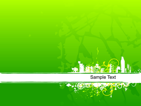 grunge floral city and lines background Vector