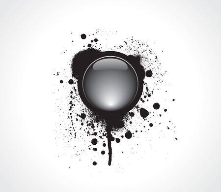 paint chipping: Grunge & hi-tech vector button Illustration