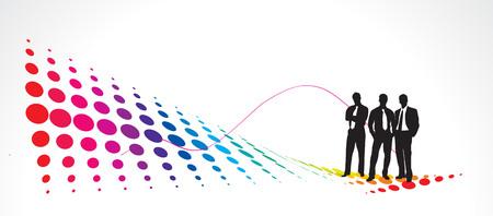 Illustration of business people with half tone heet Illustration