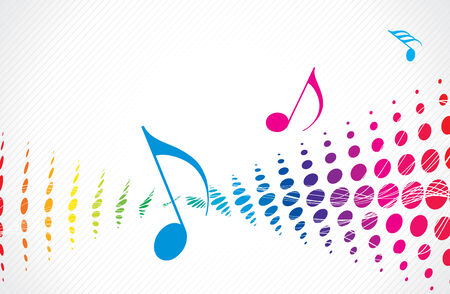Music theme multi colour halftone with music note Vector