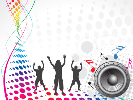 funky music: dancing children with music wave background Illustration