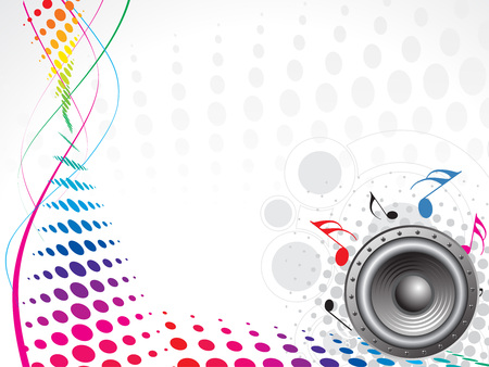 rainbow wave halftone background with music theme Vector
