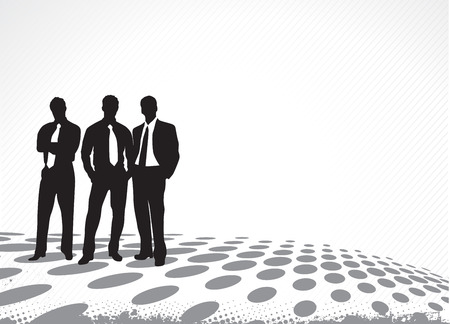 Business silhouettes on the halftone background Stock Vector - 5062728