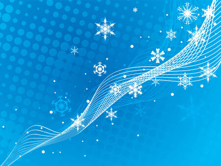 Abstract Christmas wave halftone background with snowflakes. Vector Illustration. Vector