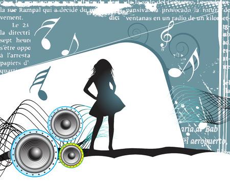 Girl, music background Stock Vector - 5119784
