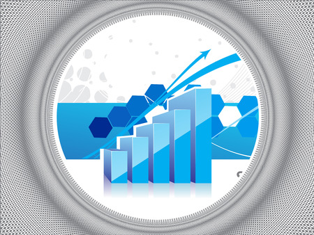 3d graph showing rise in profits or earnings with sample text background . vector illustration Vector