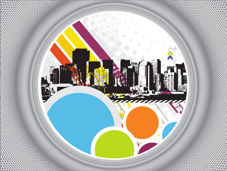 Urban grunge city with ring background - vector illustration Vector