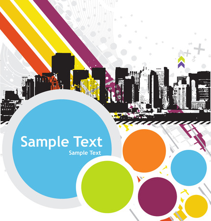 sea pollution: Urban grunge city with sample text background - vector illustration