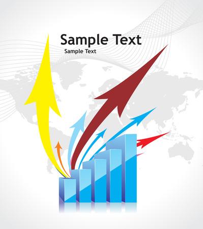 sample text: 3D gr�fico que muestra aumento en las utilidades o ganancias con el fondo de la muestra de texto. ilustraci�n vectorial