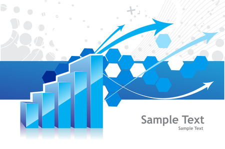 earnings: 3d graph showing rise in profits or earnings with sample text background . vector illustration Illustration