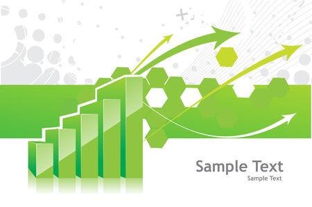 earnings: 3D Graph zeigt Anstieg der Gewinne oder Einnahmen mit Probe Texthintergrund. Vektor-Abbildung