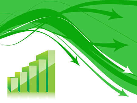 share prices: abstract arrow background with 3d graph . vector illustration