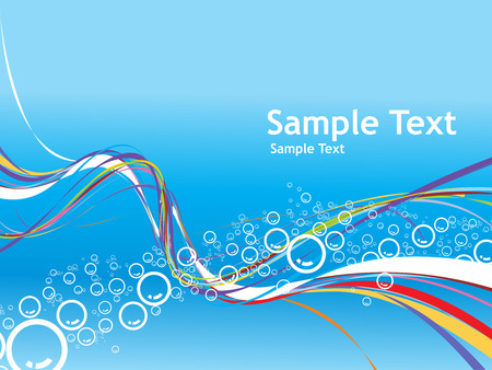 Vector Bubbles background with rainbow wave line Vector