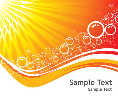 Sunburst ,Vector Bubbles background with sample text Vector