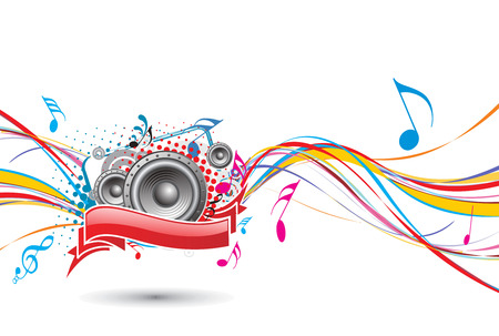 rainbow wave line with music background Stock Vector - 5143551