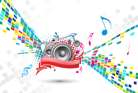 abstract mosaic vector composition with music background Stock Vector - 5143557