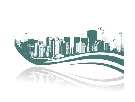 メトロポリス: 大都市 - グランジ スタイル都市背景。ベクトル イラスト。