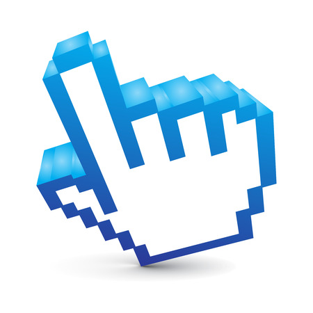 klick: 3D-Vektor-Maus-Hand-Symbol