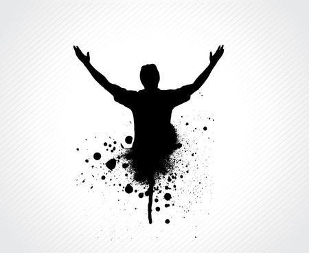 bras lev�: grunge homme avec son ouverture large de bras  Illustration