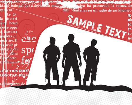 group of three boy in urban background Stock Vector - 5143773