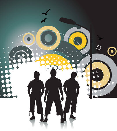 group of three boy in urban background Stock Vector - 5143677