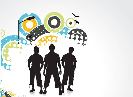 group of three boy in urban background Stock Vector - 5143761