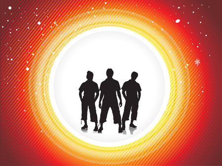 group of three boy in urban background Stock Vector - 5143838