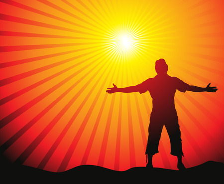 city man: Man with his arms wide open in sun lite background