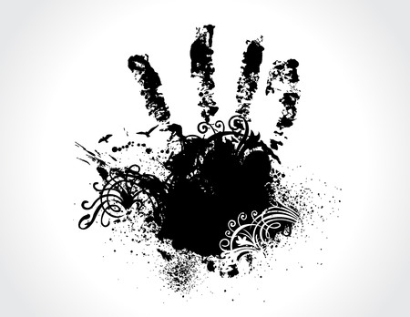finger paint: Vector illustration of a technological circuitry hand splatter with highly detailed ink explosion