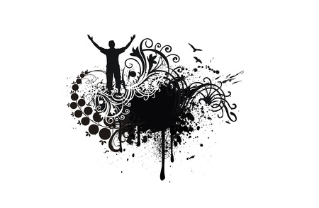 Man with his arms wide open in grunge background Vector
