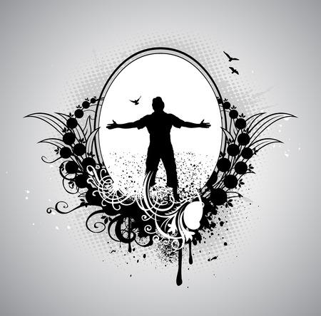 arms wide: L'uomo con le braccia spalancate in grunge background