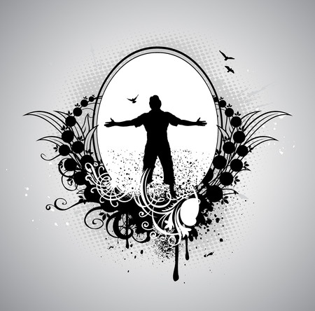 arms wide open: Man with his arms wide open in grunge background Illustration