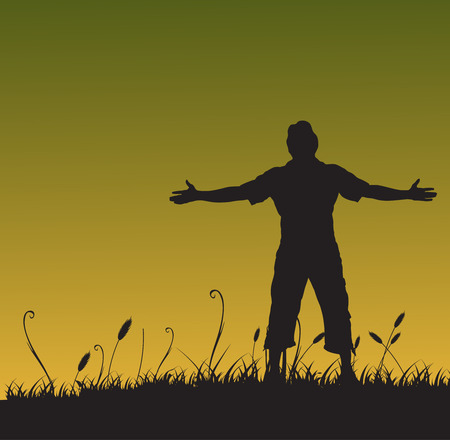 Man with his arms wide open in summer background Vector