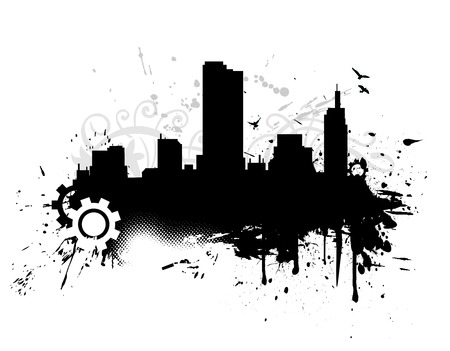 grunge uraben city with vector illustration Vector