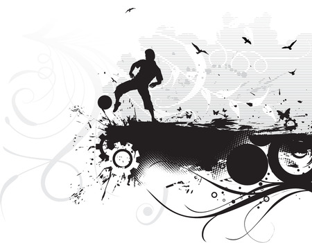 a boy play football in grunge background Vector