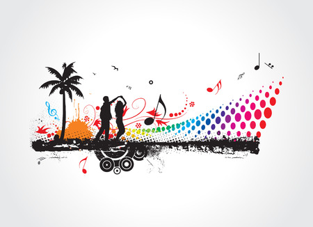 dancing in the sunset people silhouettes,floral & grunge banner for text, turntable Vector