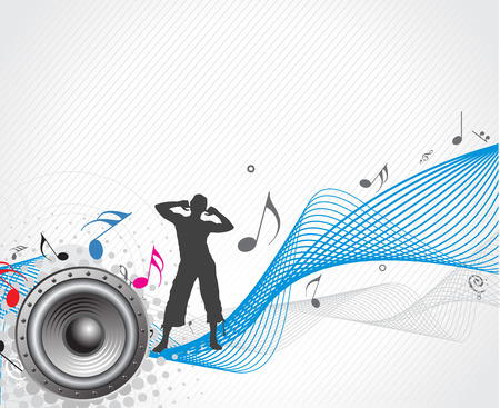 A Boy Listen to the music wave line Vector