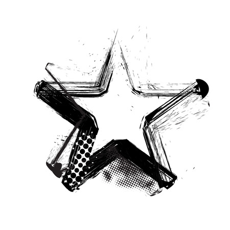 vector halftone Grunge star with white background