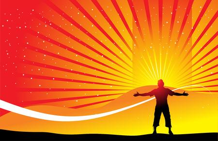 arms wide: l'uomo alzando le mani con background wave