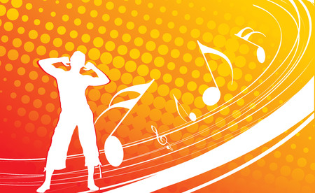 a man enjoy music in wave line background  Vector
