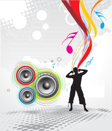 a man enjoy music in rainbow wave line background Vector