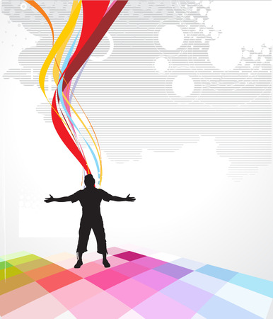 Abstract rainbow wave line background with man raising his hands . Vector illustration.