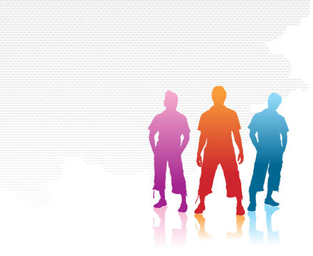 group of three boy silhouettes Stock Vector - 5143823