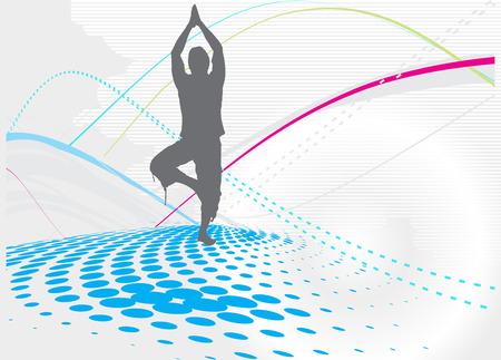shanti: halftone wave line yoga vector illustration