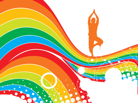 Abstract rainbow wave line background with yoga vector illustration Vector
