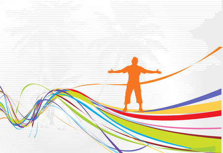 Abstract rainbow wave line background with man raising his hands Vector