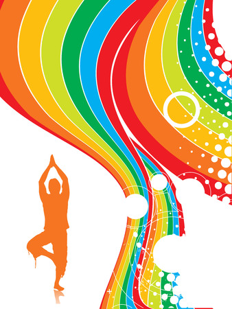 yogi aura: Abstract rainbow wave line background with yoga vector illustration Illustration