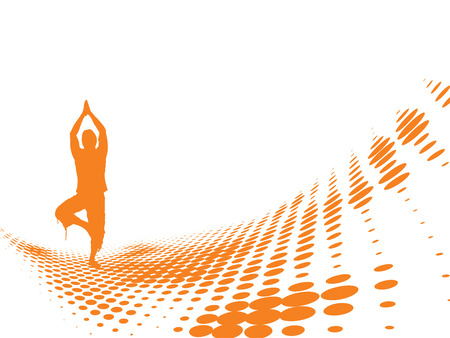 aura energy: onda astratta mezzetinte sfondo con illustrazione vettoriale di yoga